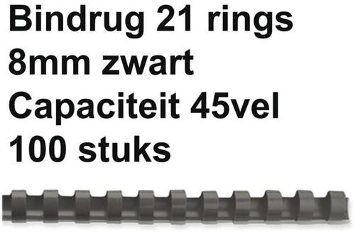 BINDRUG GBC 8MM 21RINGS A4 ZWART 100 STUK