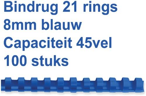 BINDRUG FELLOWES 8MM 21RINGS A4 BLAUW 100 Stuk