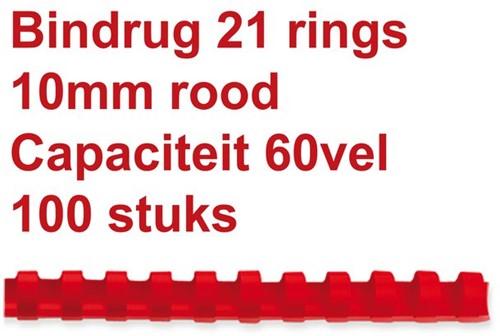 BINDRUG FELLOWES 10MM 21RINGS A4 ROOD 100 STUK