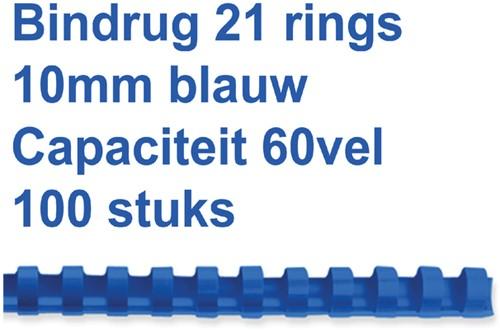 BINDRUG FELLOWES 10MM 21RINGS A4 BLAUW 100 Stuk