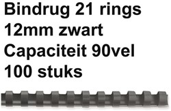 BINDRUG FELLOWES 12MM 21RINGS A4 ZWART 100 STUK