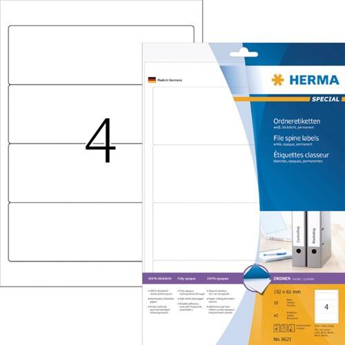 RUGETIKET HERMA 8621 192X61MM 40ST WIT 10 Vel