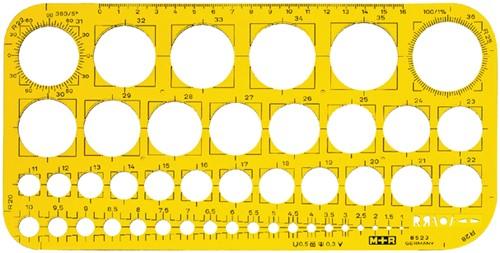 SJABLOON M+R CIRKELS 1-36MM TRANSPARANT GEEL 1 Stuk