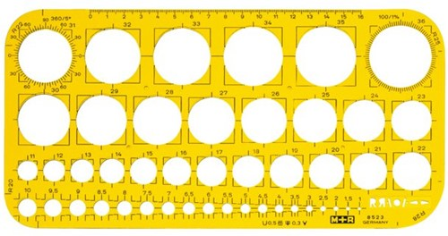 SJABLOON M&R CIRKELS 1-36MM TRANSPARANT GEEL 1 STUK