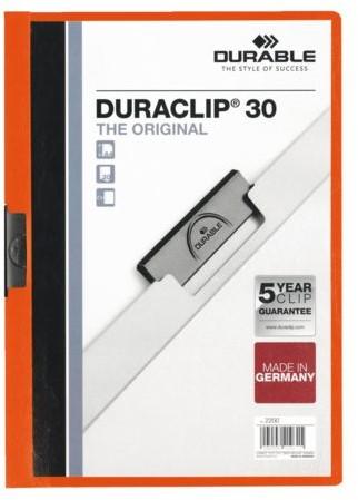 KLEMMAP DURABLE 2200 A4 PL/TR 3MM ORANJE 1 STUK