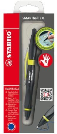 BALPEN STABILO SMARTBALL 2.0 RECHTS ZWART/KIWI 1 STUK
