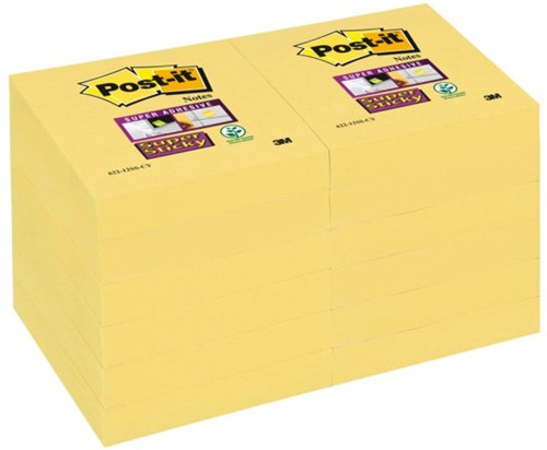MEMOBLOK 3M POST-IT 622 47.6X47.6MM SS GEEL 12 STUK