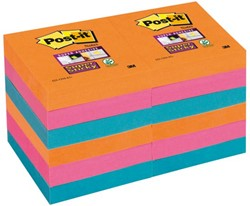 MEMOBLOK 3M POST-IT 622-SSEG 47.6X47.6MM SS OR/RZ/BL 12 STUK