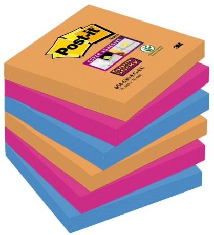 MEMOBLOK 3M POST-IT 654-SSEG 76X76MM SS OR/RZ/BL 6 STUK