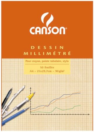 MILLIMETERBLOK CANSON A4 90GR LICHTBRUIN 50 VEL