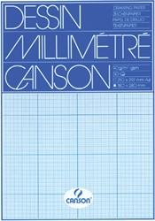 MILLIMETERBLOK CANSON A4 90GR BLAUW 50 VEL