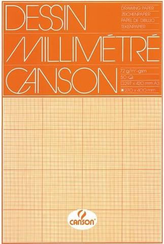 MILLIMETERBLOK CANSON A3 90GR LICHTBRUIN 50 VEL