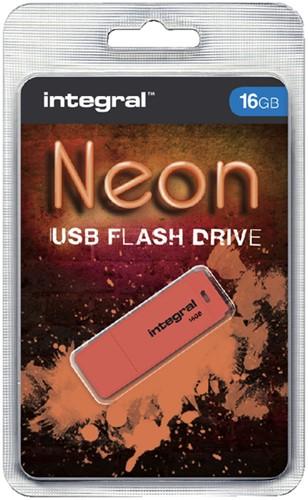 USB-STICK INTEGRAL FD 16GB NEON ORANJE 1 Stuk