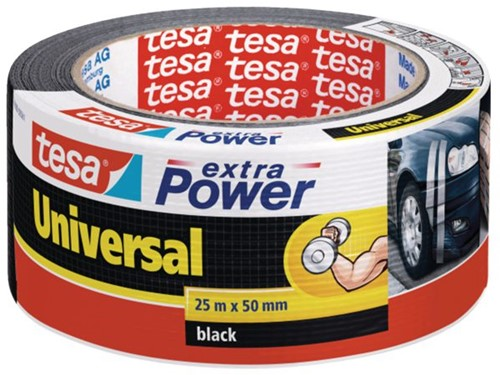 PLAKBAND TESA UNIVERSAL EXTRA POWER 50MMX25M ZWART 1 ROL