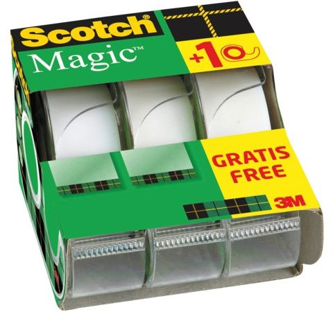 PLAKBAND 3M SCOTCH MAGIC 19MMX7.5M 2+1 GRATIS 3 Stuk