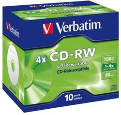 CD-RW VERBATIM 700MB 12X 10PK JC 1 STUK