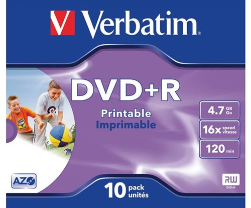 DVD+R VERBATIM 4.7GB 16X PRINTABLE JC 1 STUK