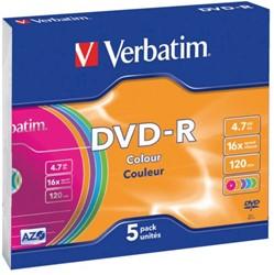 DVD-R VERBATIM 4.7GB 16X COLOUR 5PK SLIMLINE JC 5 STUK