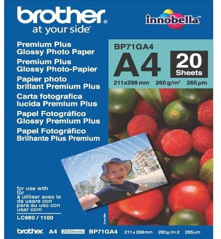 FOTOPAPIER BROTHER BP-71 A4 260GR GLANS 20 VEL