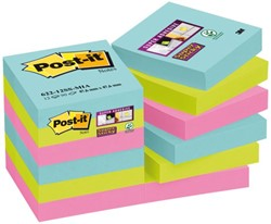 MEMOBLOK 3M POST-IT 622 SUPER STICKY 47.6X47.6MM MIAMI 12 STUK