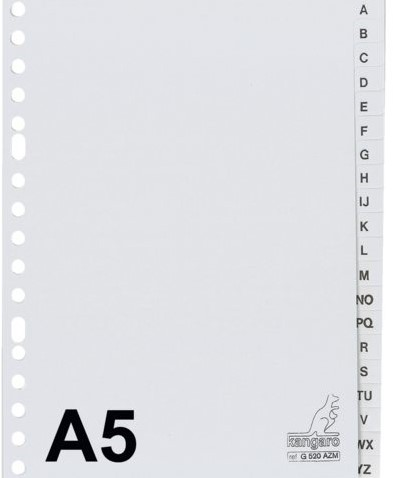 TABBLAD KANGARO G520AZM A5 17R A-Z PP 20DLG GRIJS 1 SET