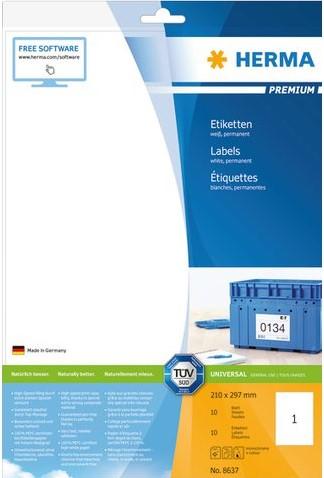ETIKET HERMA 8637 210X297MM PREMIUM A4 10ST 10 VEL