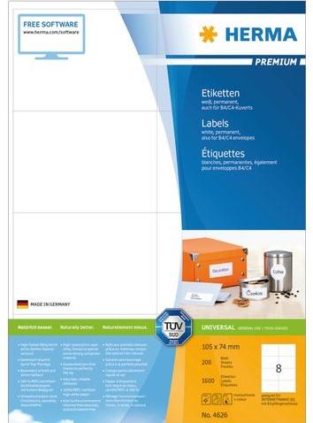 ETIKET HERMA 4626 105X74MM PREMIUM A4 1600ST 200 VEL