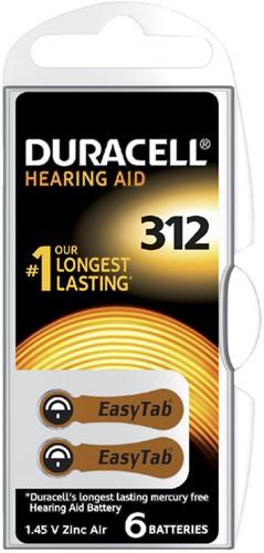 BATTERIJ DURACELL DA312 HEARING AID 6 Stuk