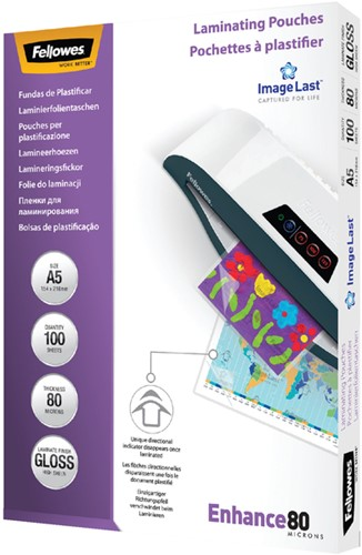 LAMINEERHOES FELLOWES A5 2X80MICRON 100 Stuk