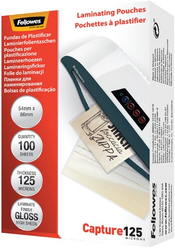 LAMINEERHOES FELLOWES 54X86MM 2X125MICRON 100 Stuk