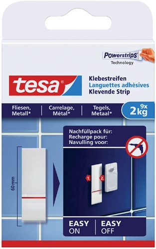 POWERSTRIP TESA VOOR TEGELS EN METAAL 2KG 9 Stuk