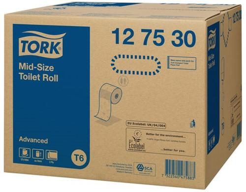 TOILETPAPIER TORK T6 MID-SIZE 2LAAGS ADVANCED 27 ROL 127530 27 ROL-2