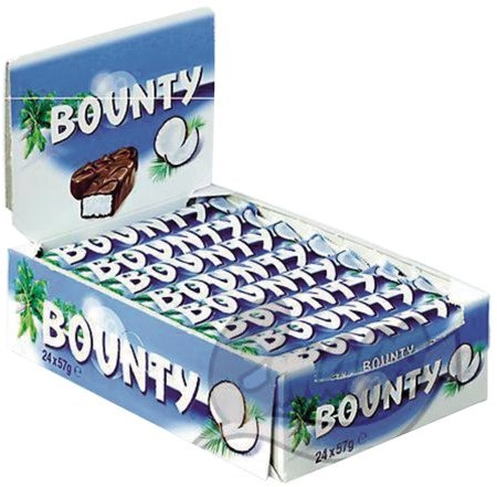 BOUNTY SINGLE MELK 57GR 24 STUK
