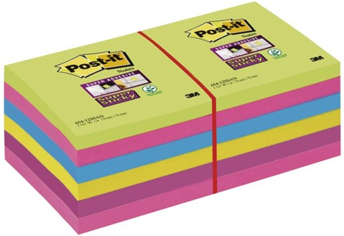MEMOBLOK 3M POST-IT 654SUC 76X76MM SS RB 12 STUK
