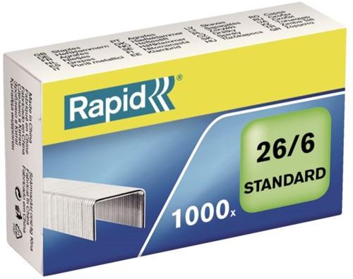 NIETEN RAPID STANDAARD 26/6 GEGALV 1000ST 1000 STUK
