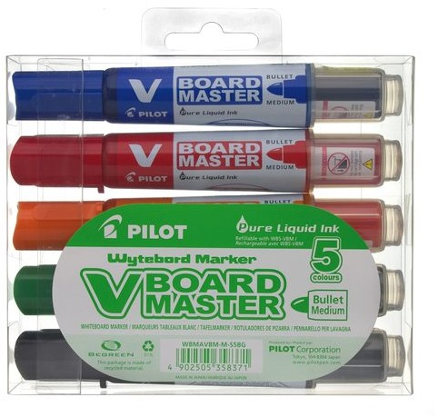 VILTSTIFT PILOT WHITEBOARD BEGREEN ROND 2.0MM ASS 5 STUK