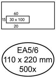 ENVELOP HERMES DIGITAL EA5/6 VL STRIP 90GR WIT 500 STUK