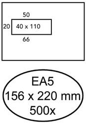 ENVELOP HERMES VENSTER EA5 VL 4X11 80GR 500ST WIT 500 STUK