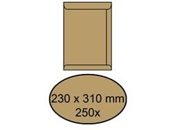 ENVELOP AKTE 230X310MM ZELFKL 90GR BRUIN 250 STUK