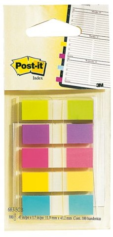 INDEXTABS 3M POST-IT 6835CB SPLIT 12MM ASS 100 STUK
