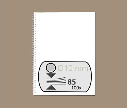 DRAADRUG GBC 10MM US 21RINGS A4 ZILVER 100 STUK