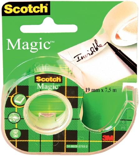 PLAKBAND 3M SCOTCH 19MMX7.5M MET TAPEHOUDER MAGIC 1 Stuk