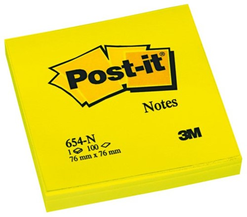 MEMOBLOK 3M POST-IT 654N 76X76MM NEON GEEL 100 VEL