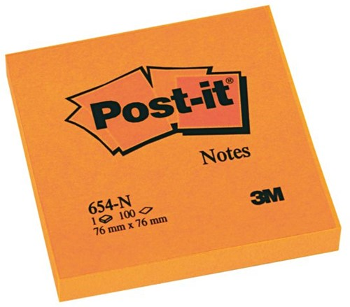 MEMOBLOK 3M POST-IT 654N 76X76MM NEON ORANJE 100 VEL